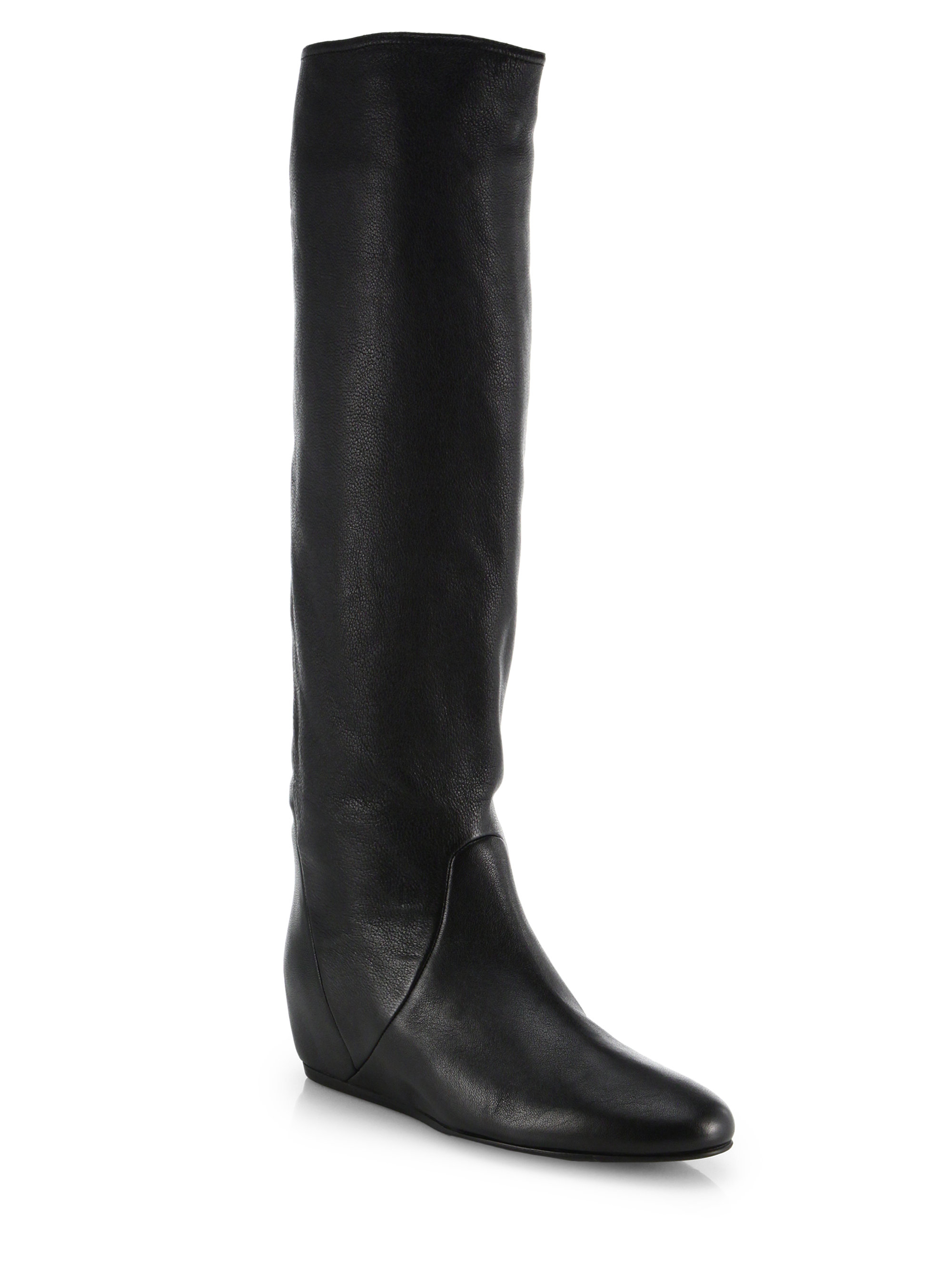 956afba82127 Lyst - Lanvin Hidden-wedge Leather Knee-high Boots in Black