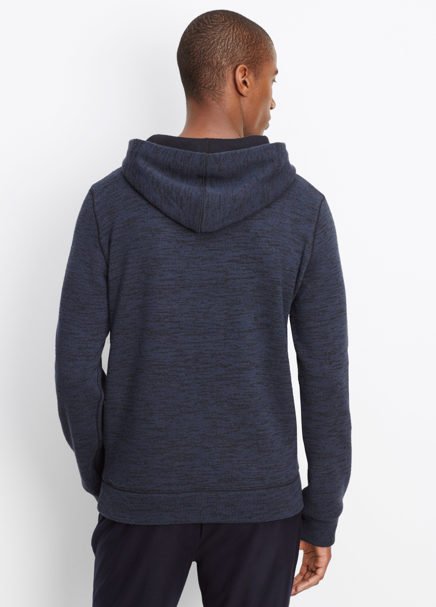 Vince Marled Luxe Knit Pullover Hoodie in Blue for Men | Lyst