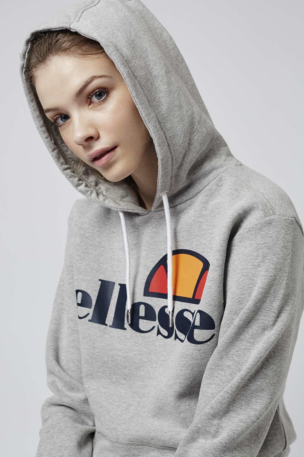 lyst topshop oversized hoodie by ellesse in gray. Black Bedroom Furniture Sets. Home Design Ideas