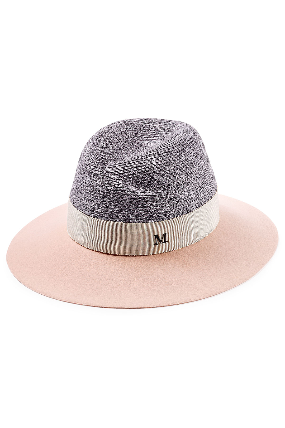 Maison michel virginie felt and straw hat in pink lyst for Maison michel