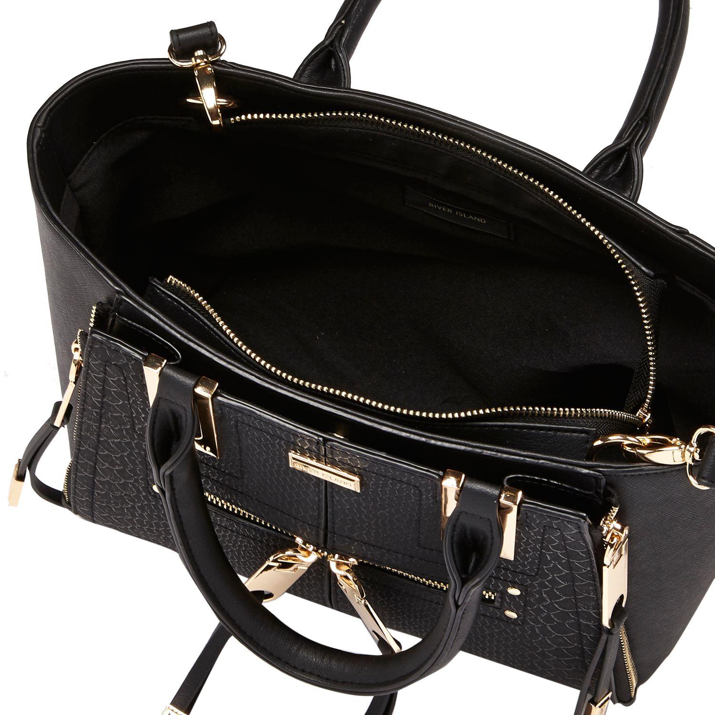 080c663ebcba River Island - Black Mini Zip Winged Tote Handbag - Lyst