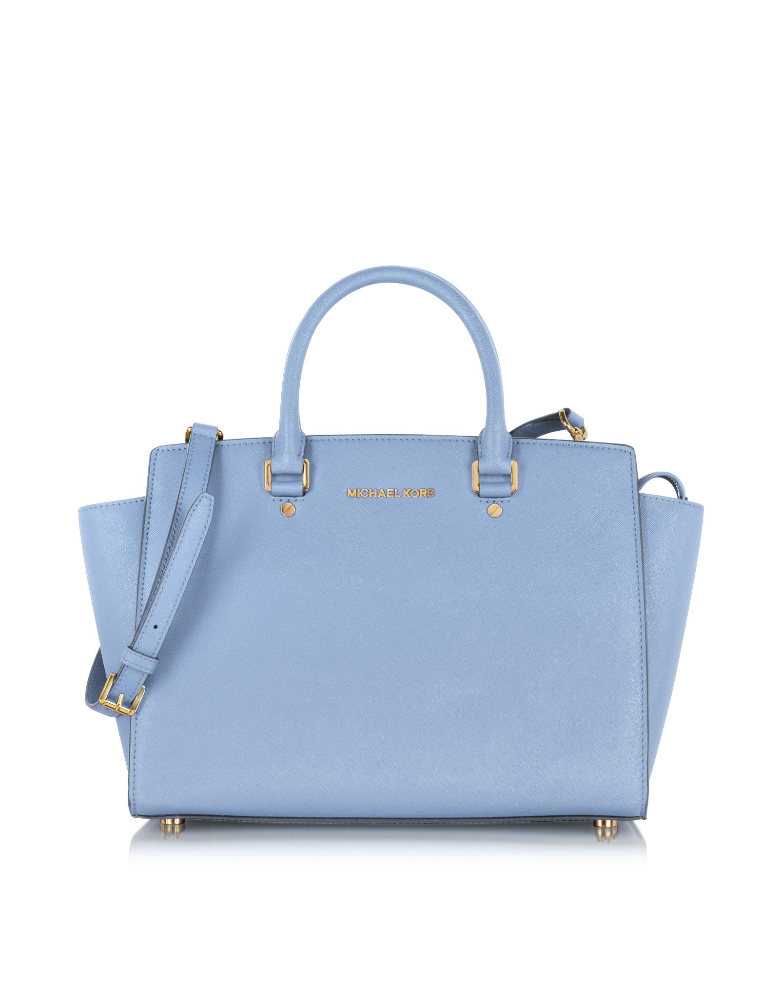 467492ee3807 Michael Kors Large Selma Top-zip Saffiano Leather Satchel in Blue - Lyst