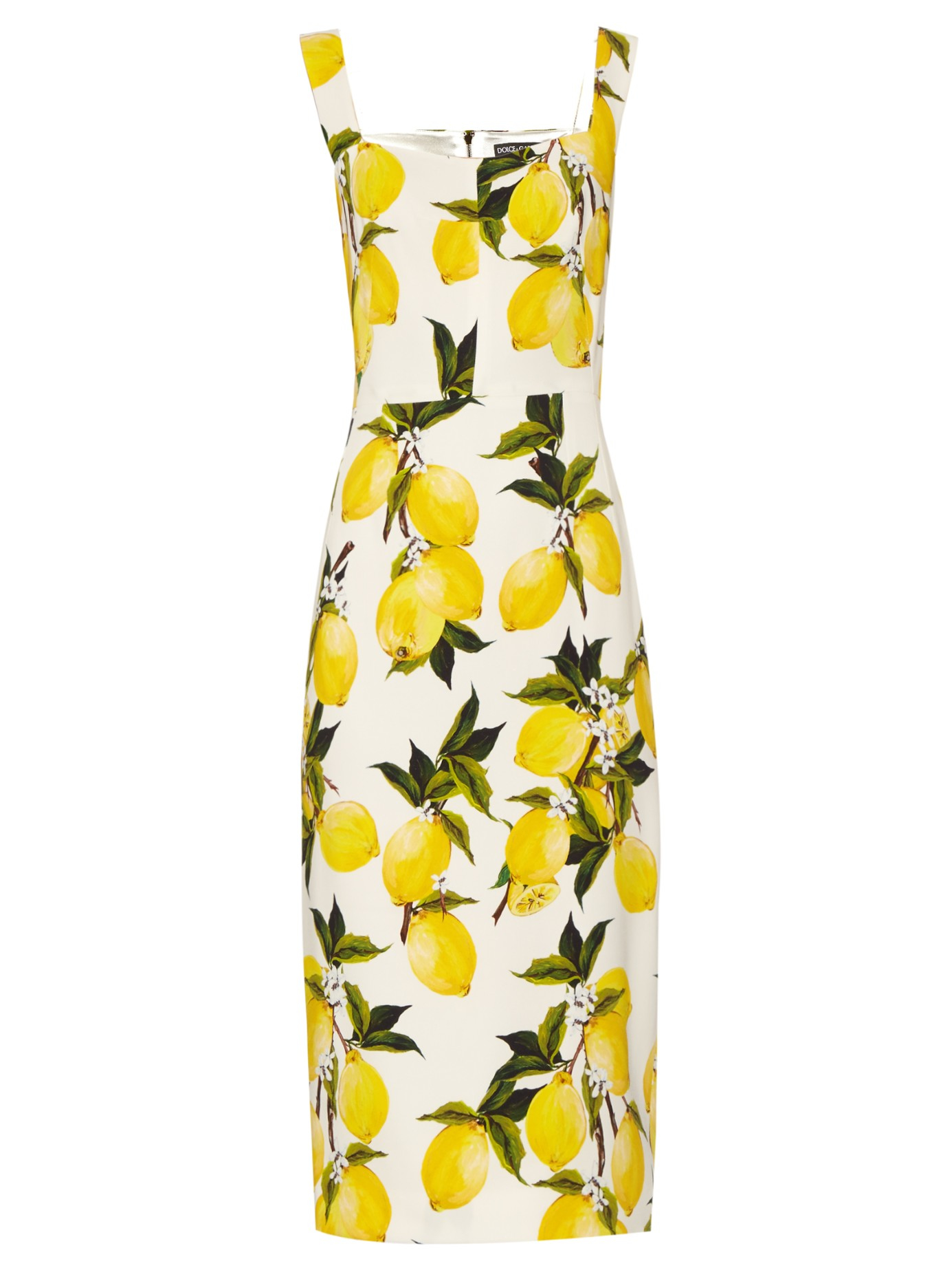 Lyst - Dolce   Gabbana Lemon-print Crepe Dress in Yellow 85407a10e40aa