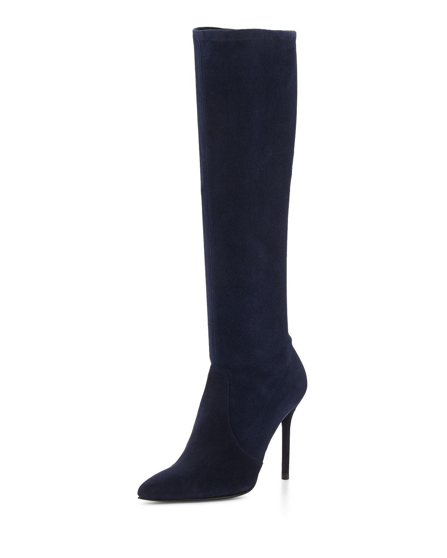 stuart weitzman benefit stretch suede boot blue made