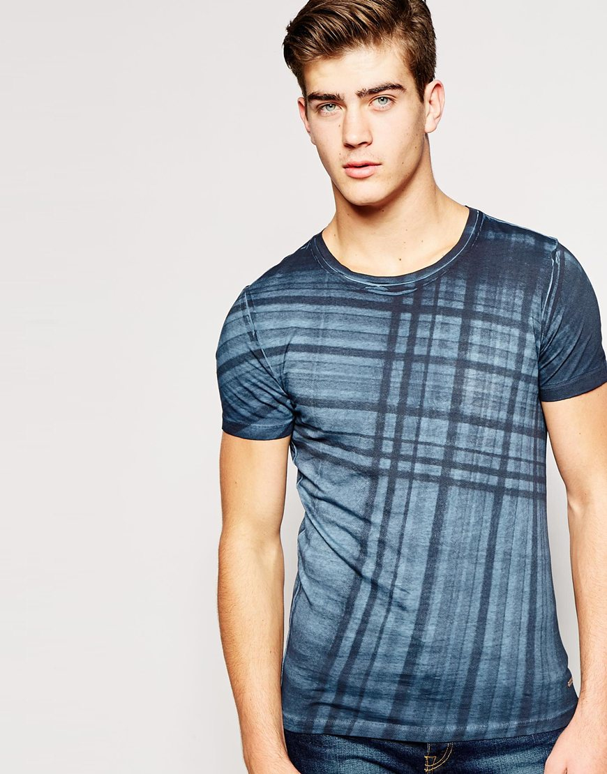 Lyst Boss Orange T Shirt With Check Print In Blue For Men