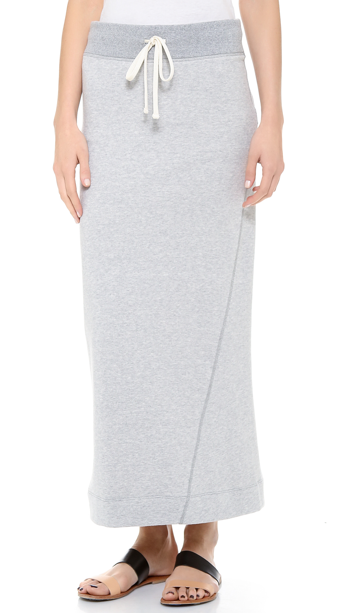 fleece twisted seam maxi skirt in gray lyst