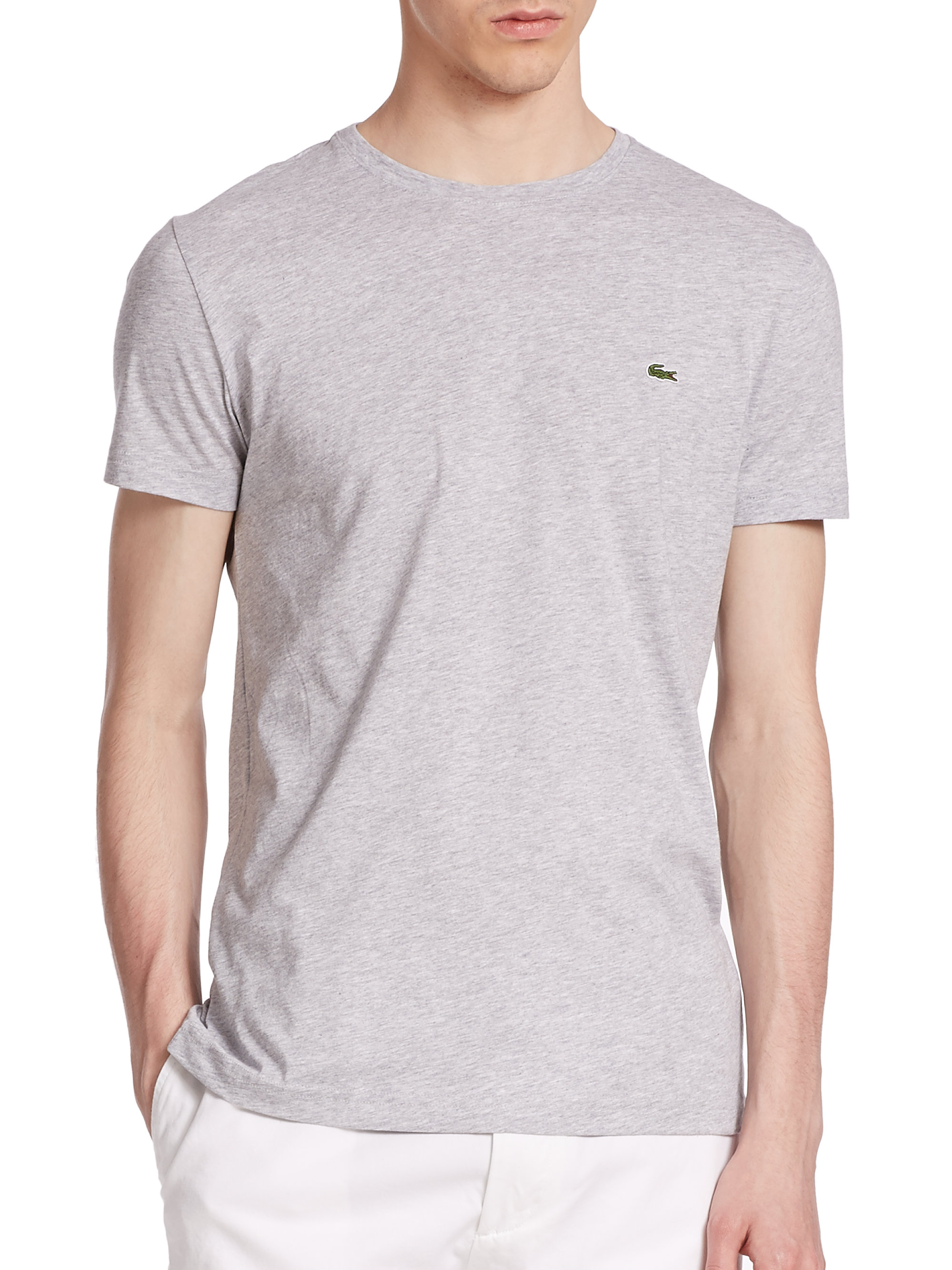 Lacoste pima cotton tee in gray for men lyst for Pima cotton tee shirts