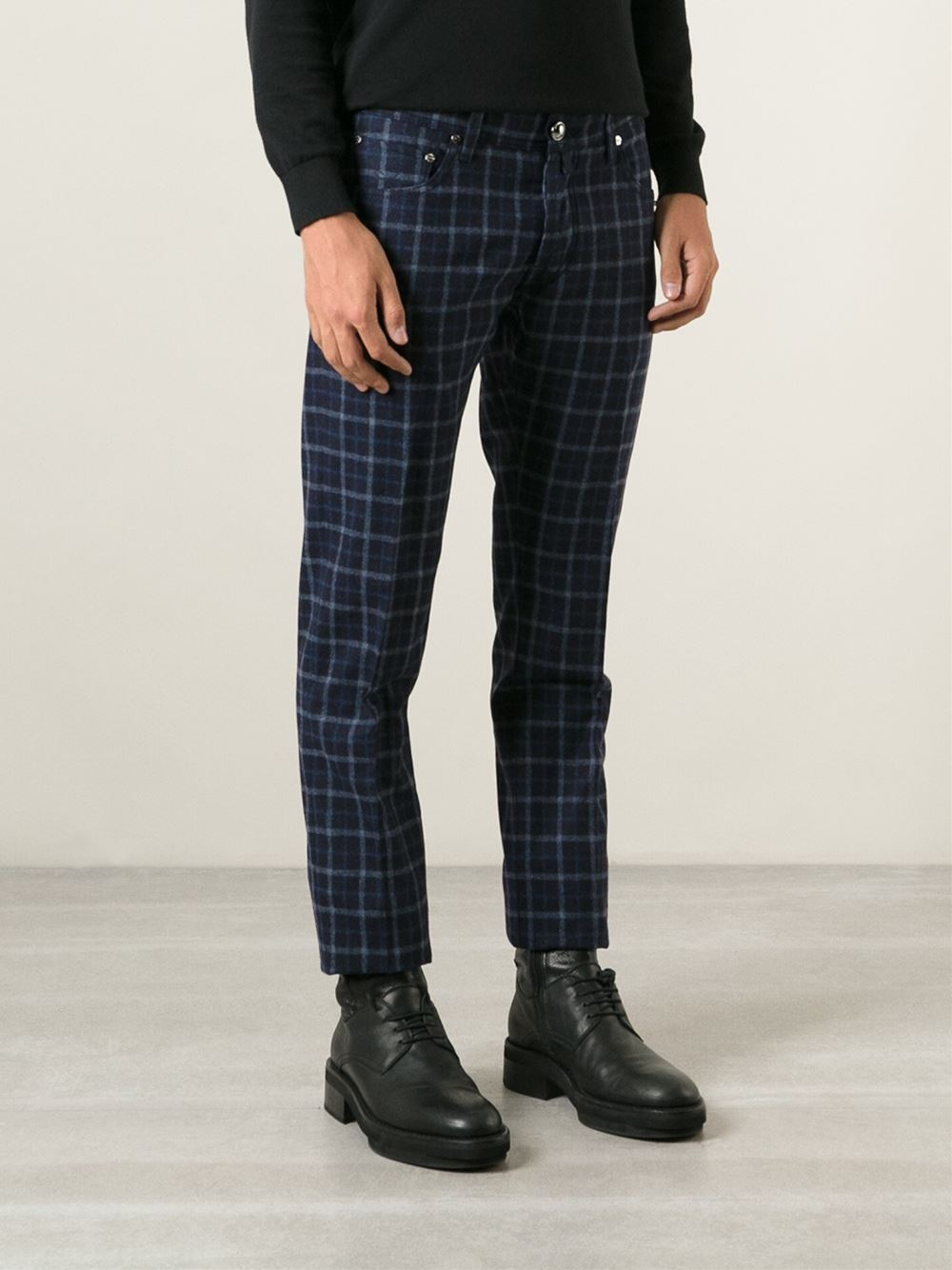 jacob cohen checked trousers in blue for men lyst