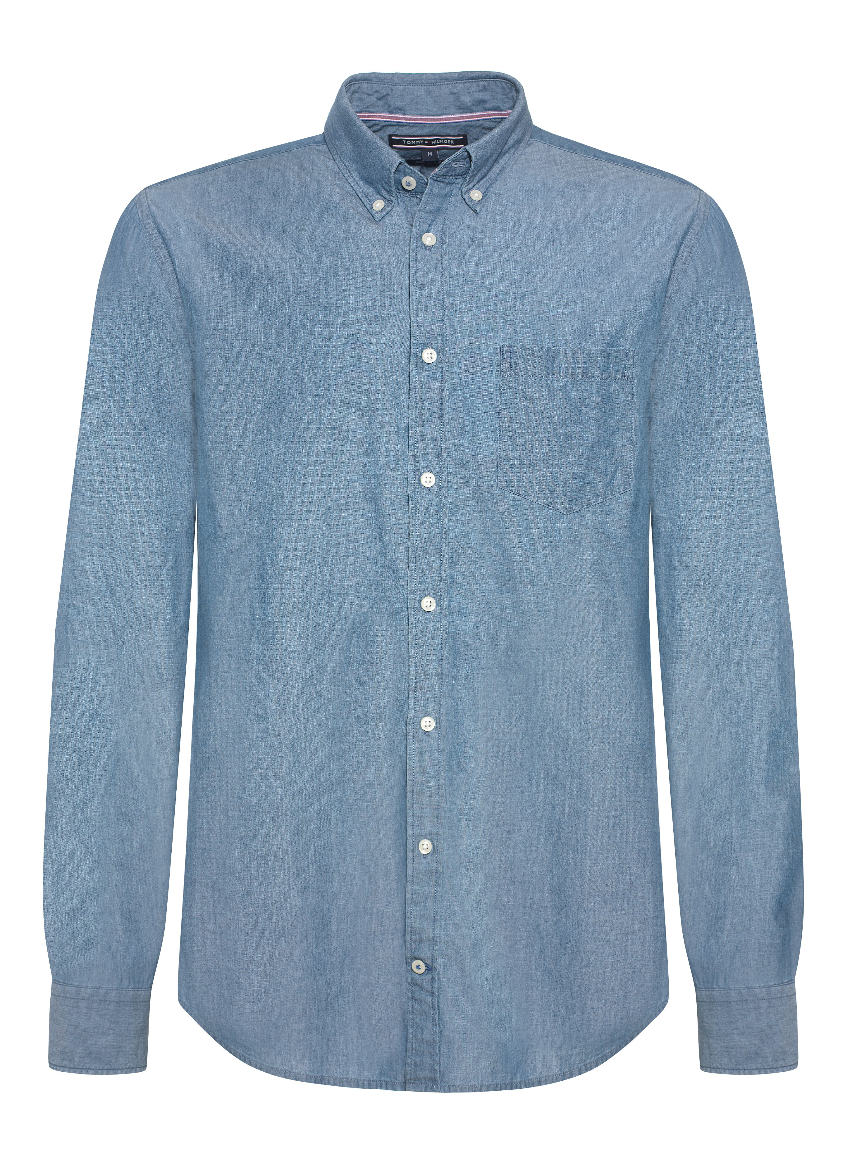 tommy hilfiger chambray plain classic fit button down