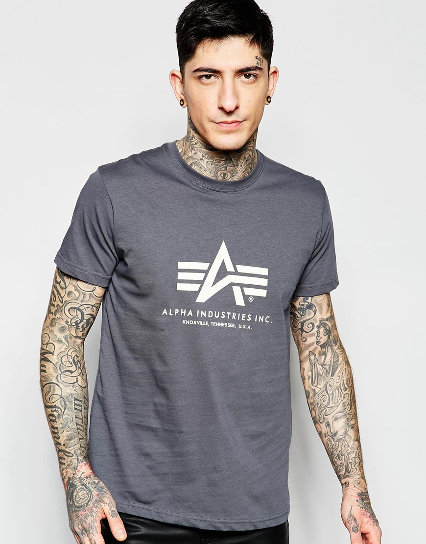 alpha industries lpha industries t shirt with logo in grey in gray for. Black Bedroom Furniture Sets. Home Design Ideas