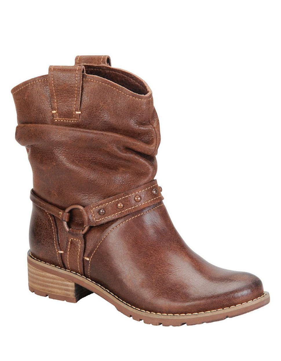 s 246 fft adan leather slouchy ankle boots in brown lyst