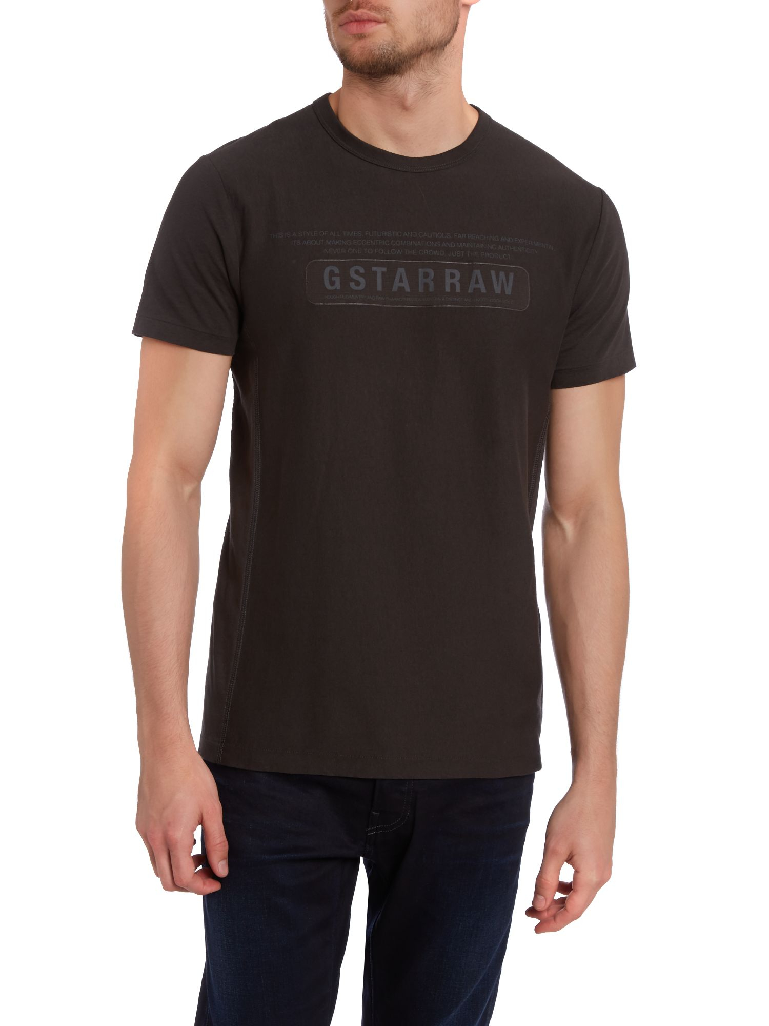 g star raw sobeck crew neck logo t shirt in black for men. Black Bedroom Furniture Sets. Home Design Ideas