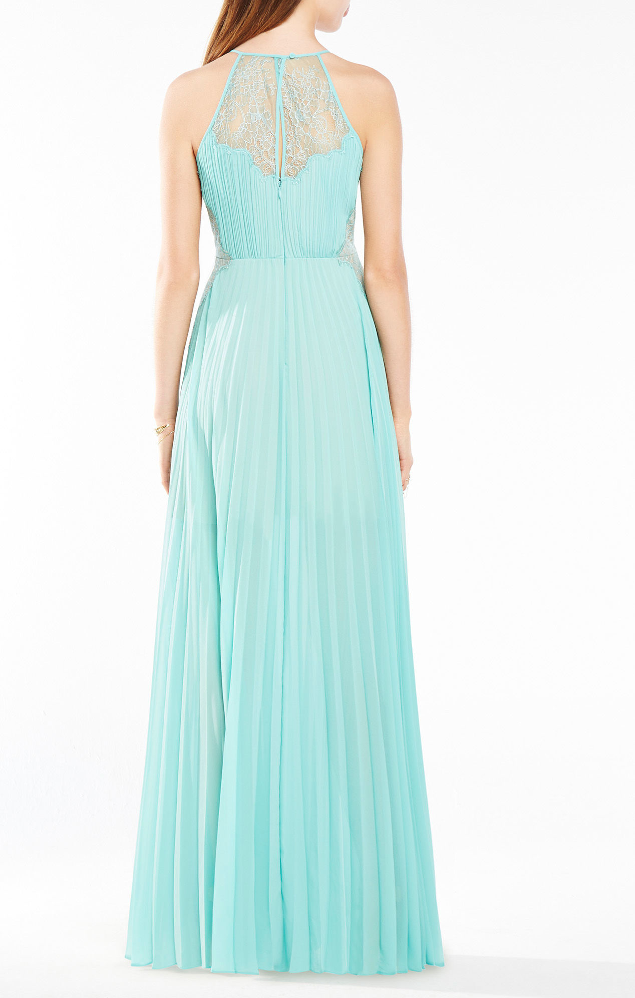 Lyst - Bcbgmaxazria Misty Lace-blocked Pleated Gown in Blue