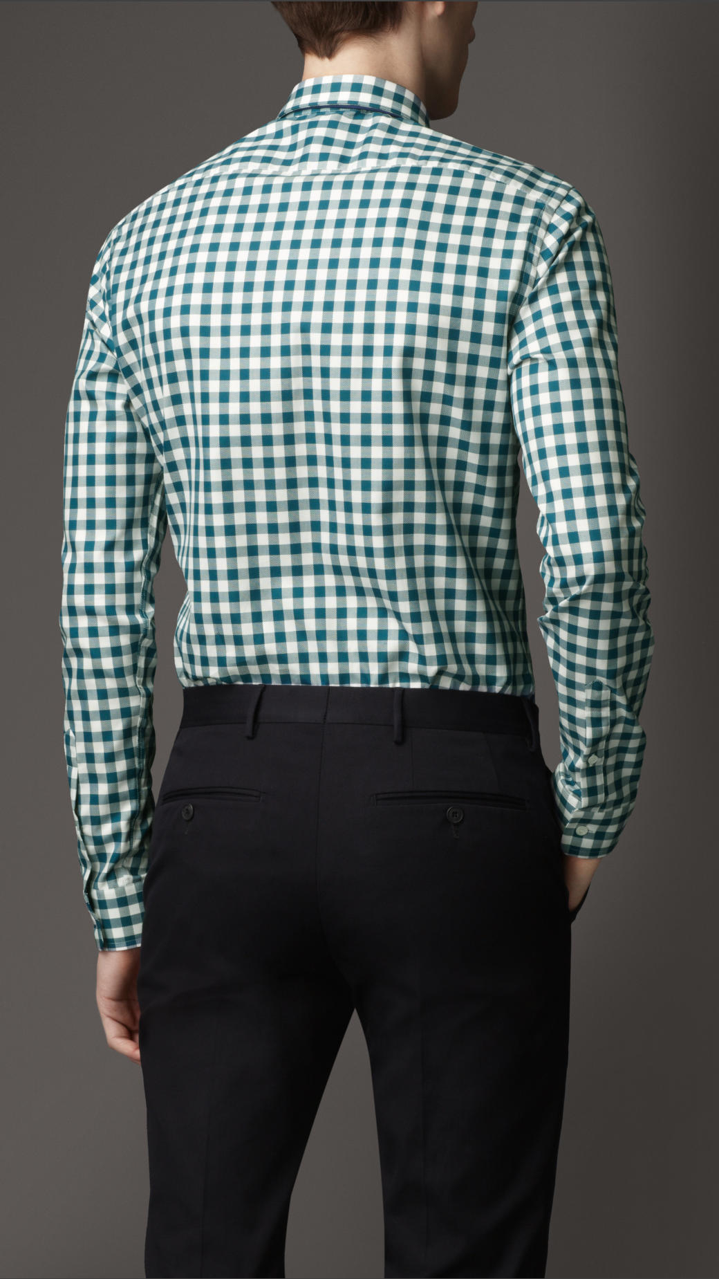 Burberry Slim Fit Cotton Gingham Shirt In Green For Men Lyst