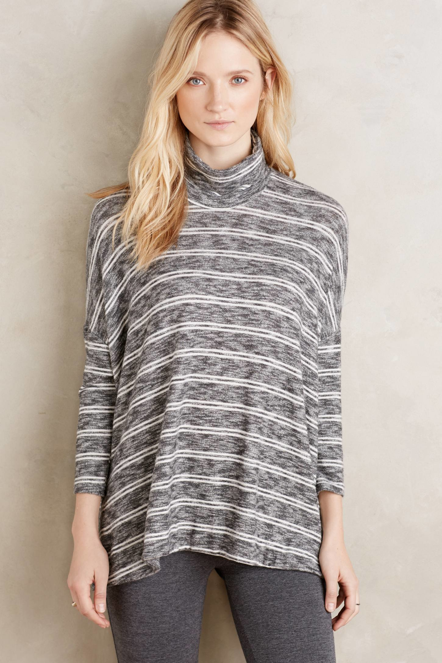 Anthropologie Striped Swing Turtleneck in Gray | Lyst