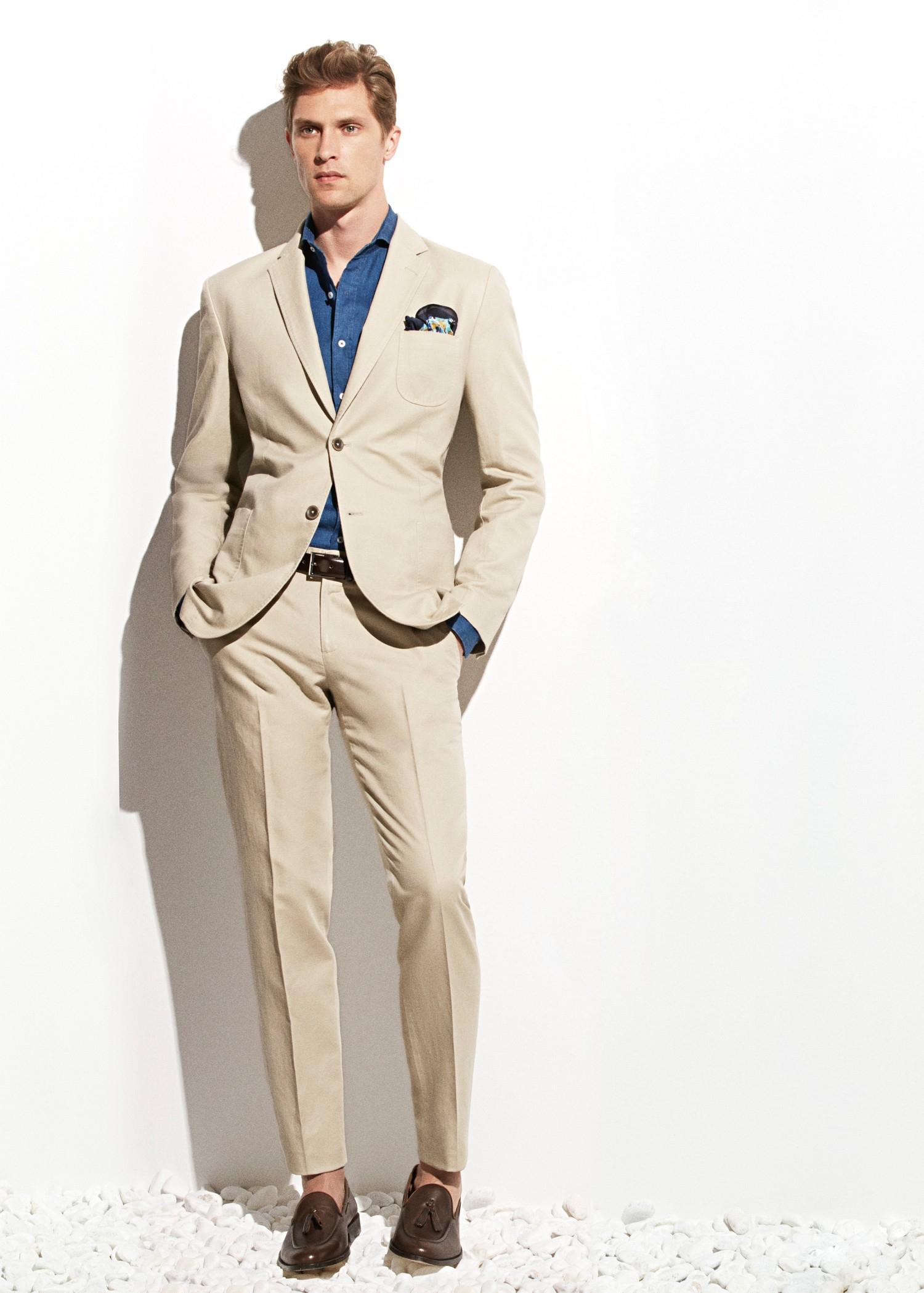 Mango Linen Cottonblend Suit Trousers In Natural For Men