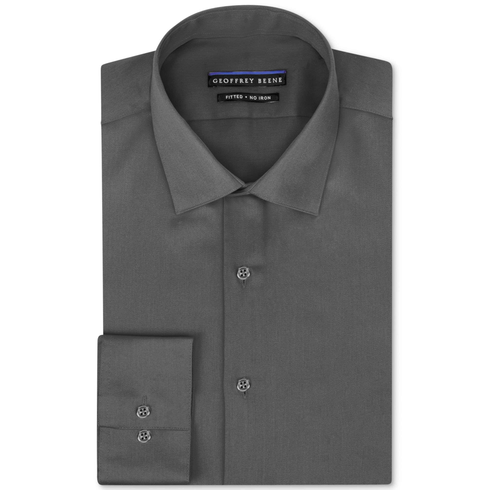 Geoffrey beene non iron fitted stretch sateen solid dress for No iron dress shirts for men
