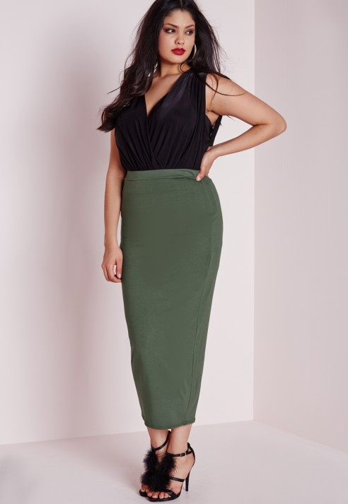 Missguided Plus Size Jersey Midi Skirt Khaki in Natural | Lyst