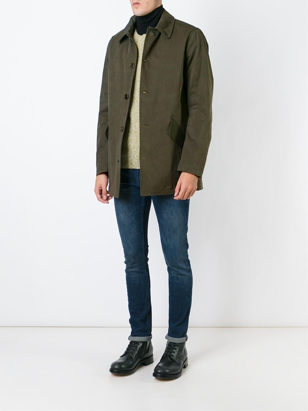 Aspesi Classic Car Coat in Green for Men | Lyst