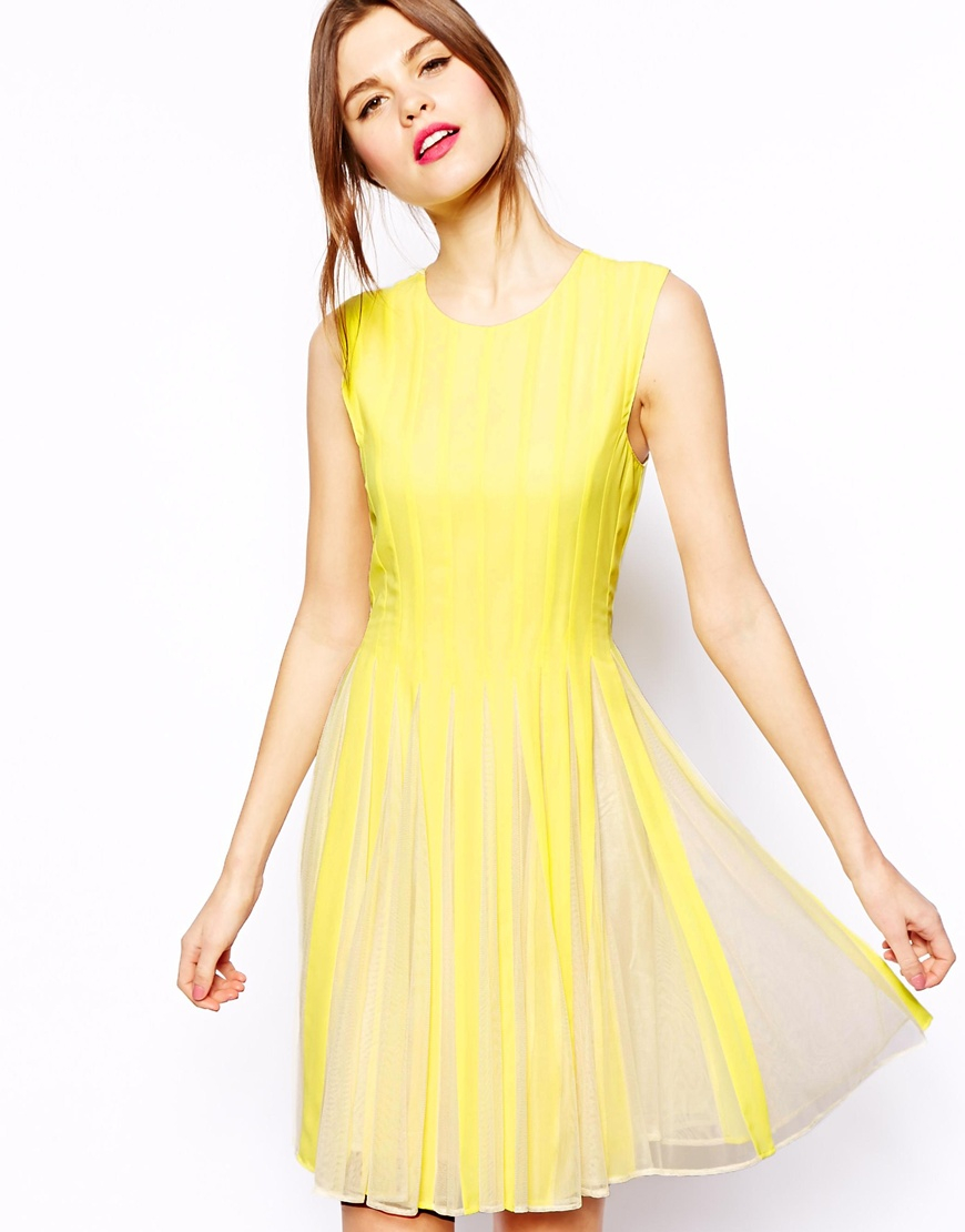 Lyst Asos Mesh Insert Fit And Flare Dress In Yellow