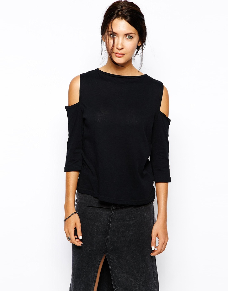 Cheap monday cold shoulder top in black lyst Designer clothes discounted