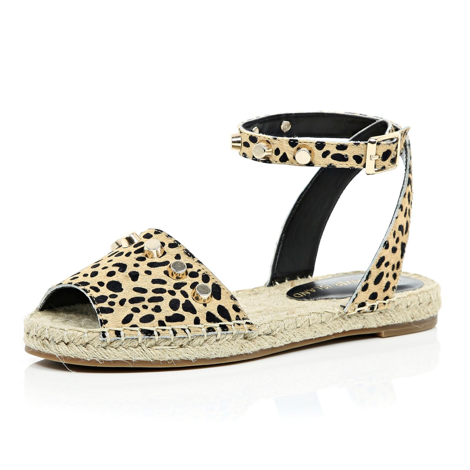 03576984ac298f River Island Leopard Leather Ponyskin Espadrille Sandals - Lyst