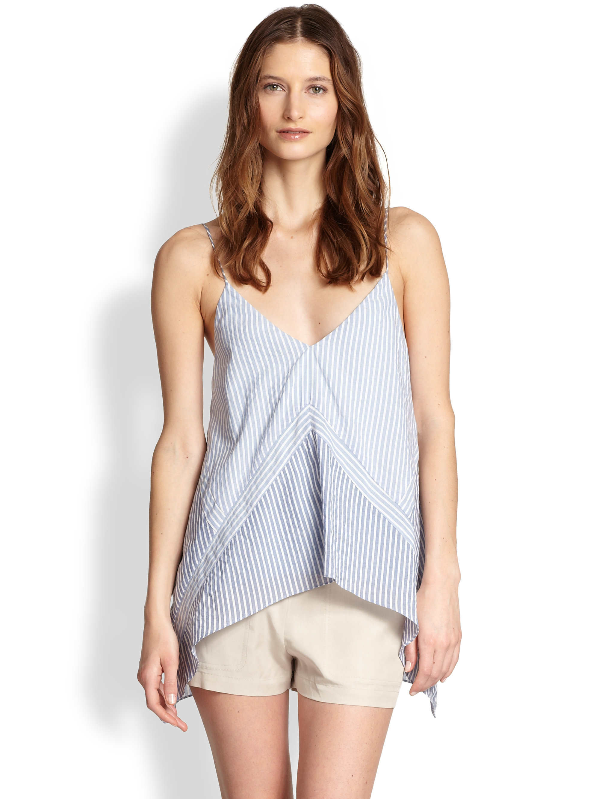 Bcbgmaxazria cora chambray tank top in blue light blue for Chambray top