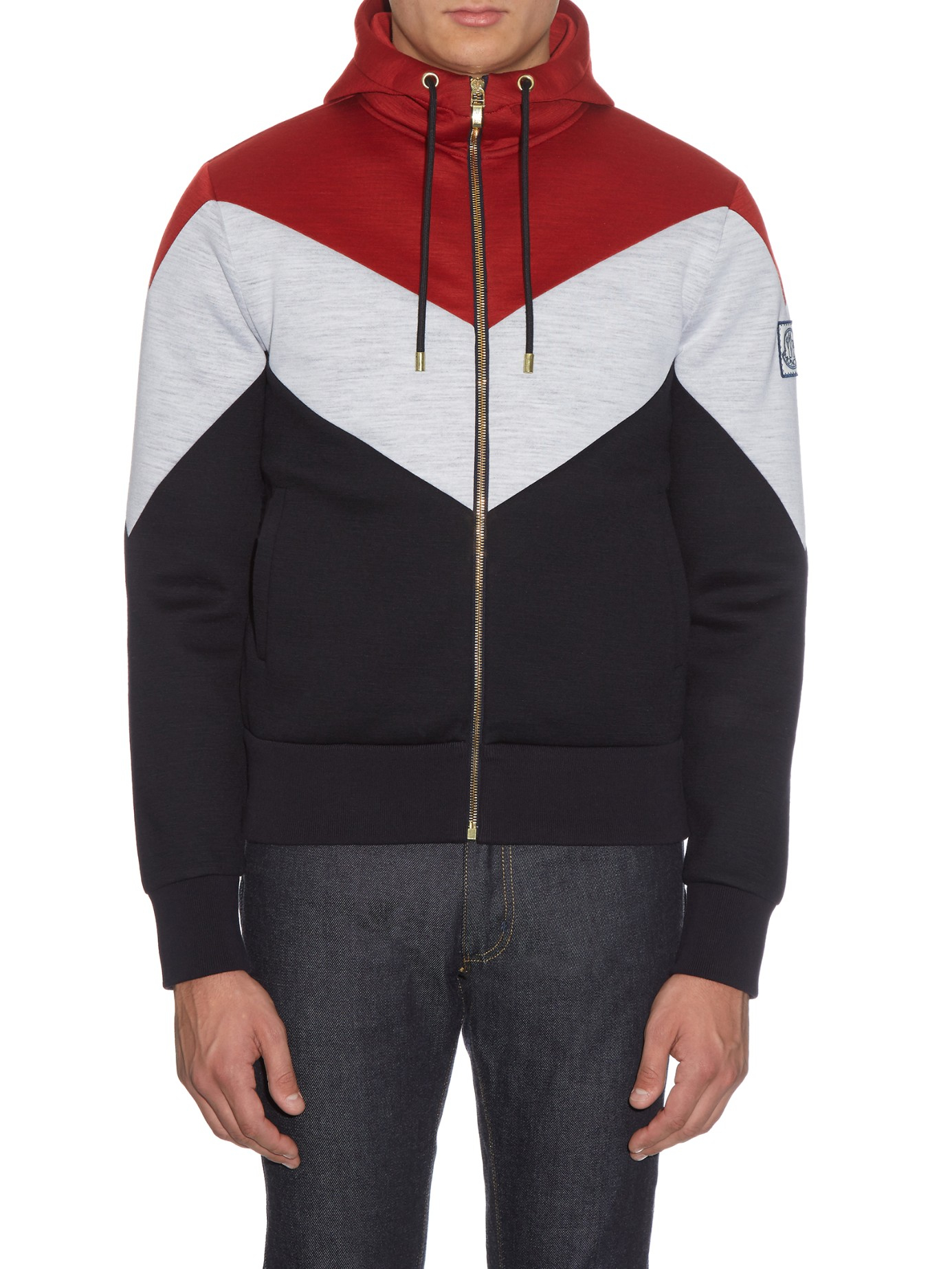 Moncler Gamme Bleu Striped Zip-up Hooded Wool Sweatshirt in Red for Men - Lyst