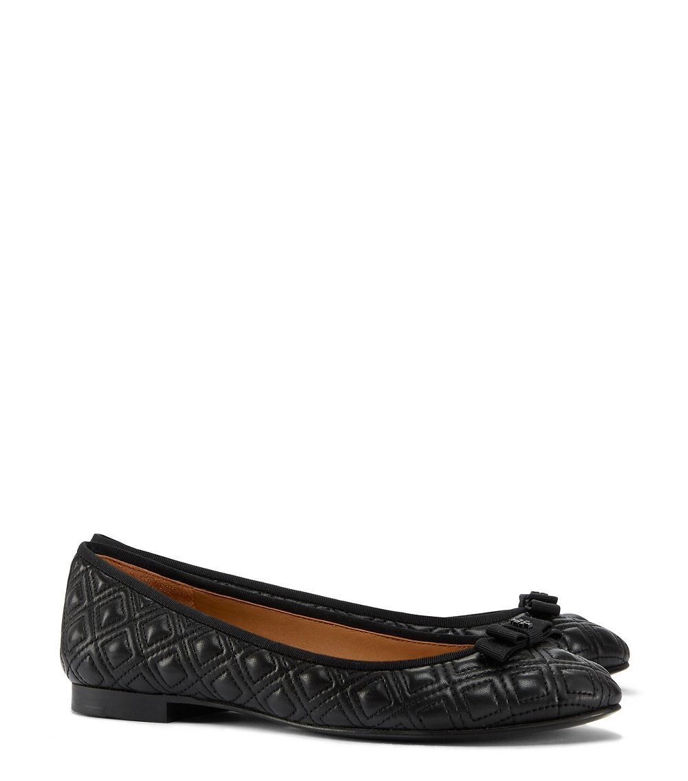 5dc3cf47efe Tory Burch Marion Quilted Ballet Flat in Black - Lyst