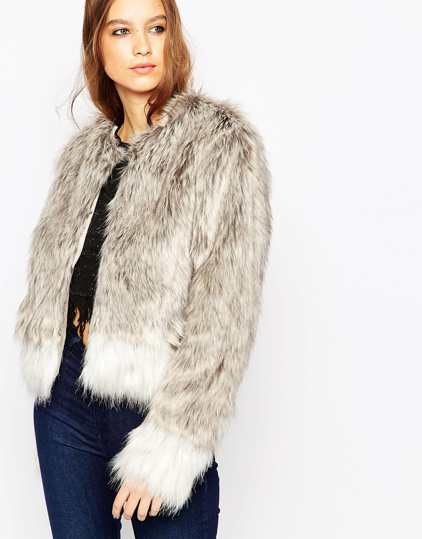 Urbancode Short Faux Fur Jacket In Artic Fox in Gray | Lyst