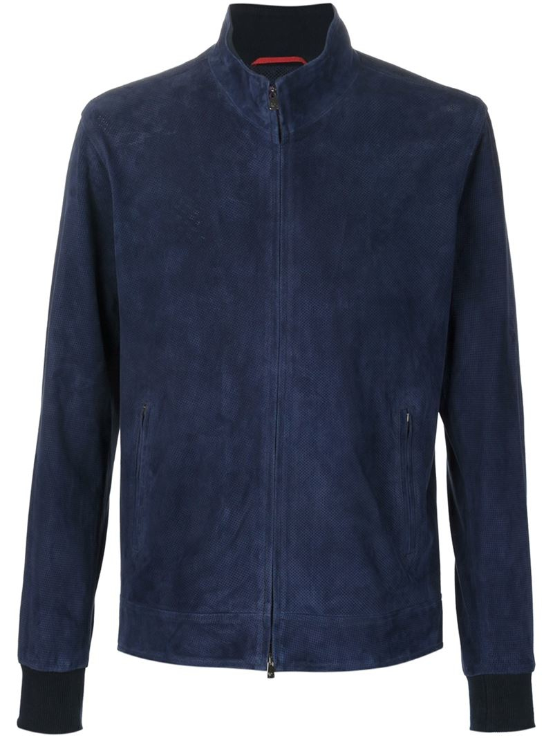 Lyst Isaia Perforated Suede Jacket In Blue For Men