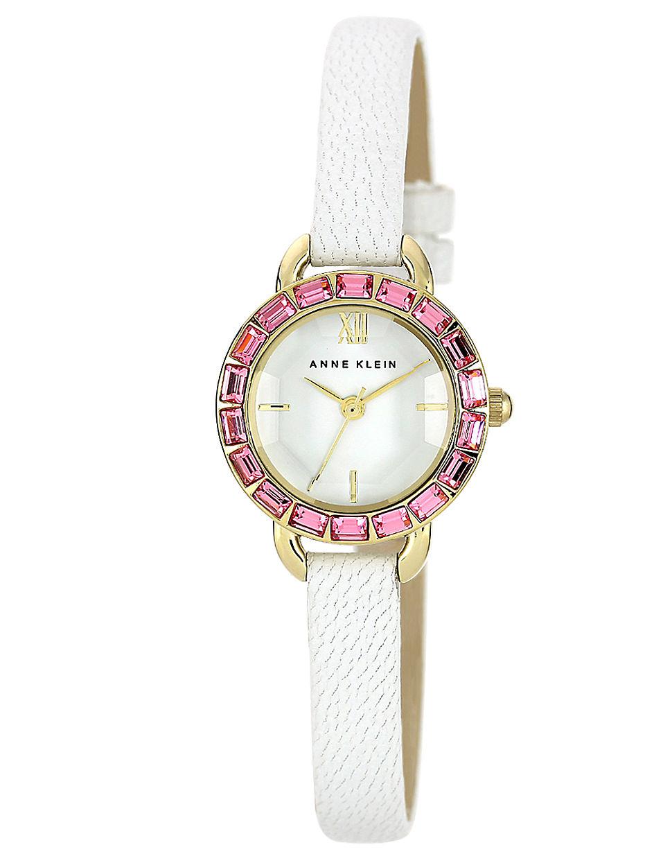 Anne klein ladies pink swarovski crystal white strap watch in white lyst for Anne klein swarovski crystals