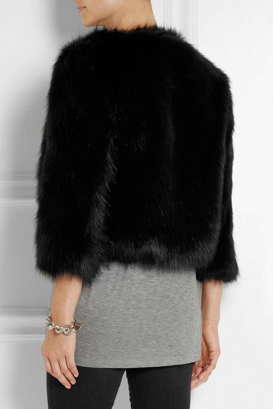 5dd55cbe1 DKNY Cropped Faux Fur Jacket in Black - Lyst
