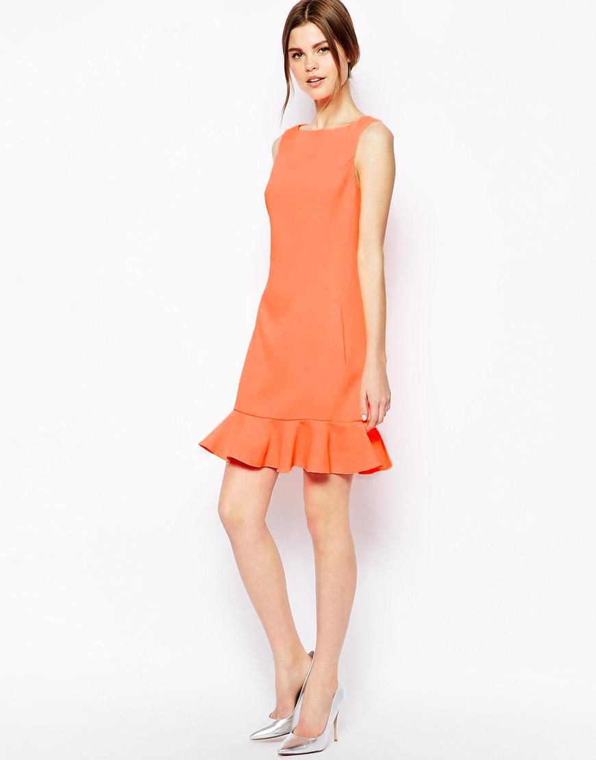 Orange lace dress hem