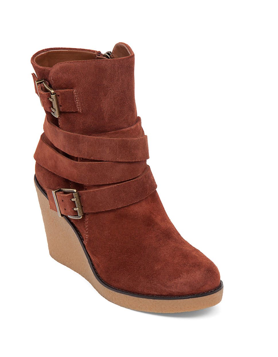 bcbgeneration finland leather wedge boots in brown lyst