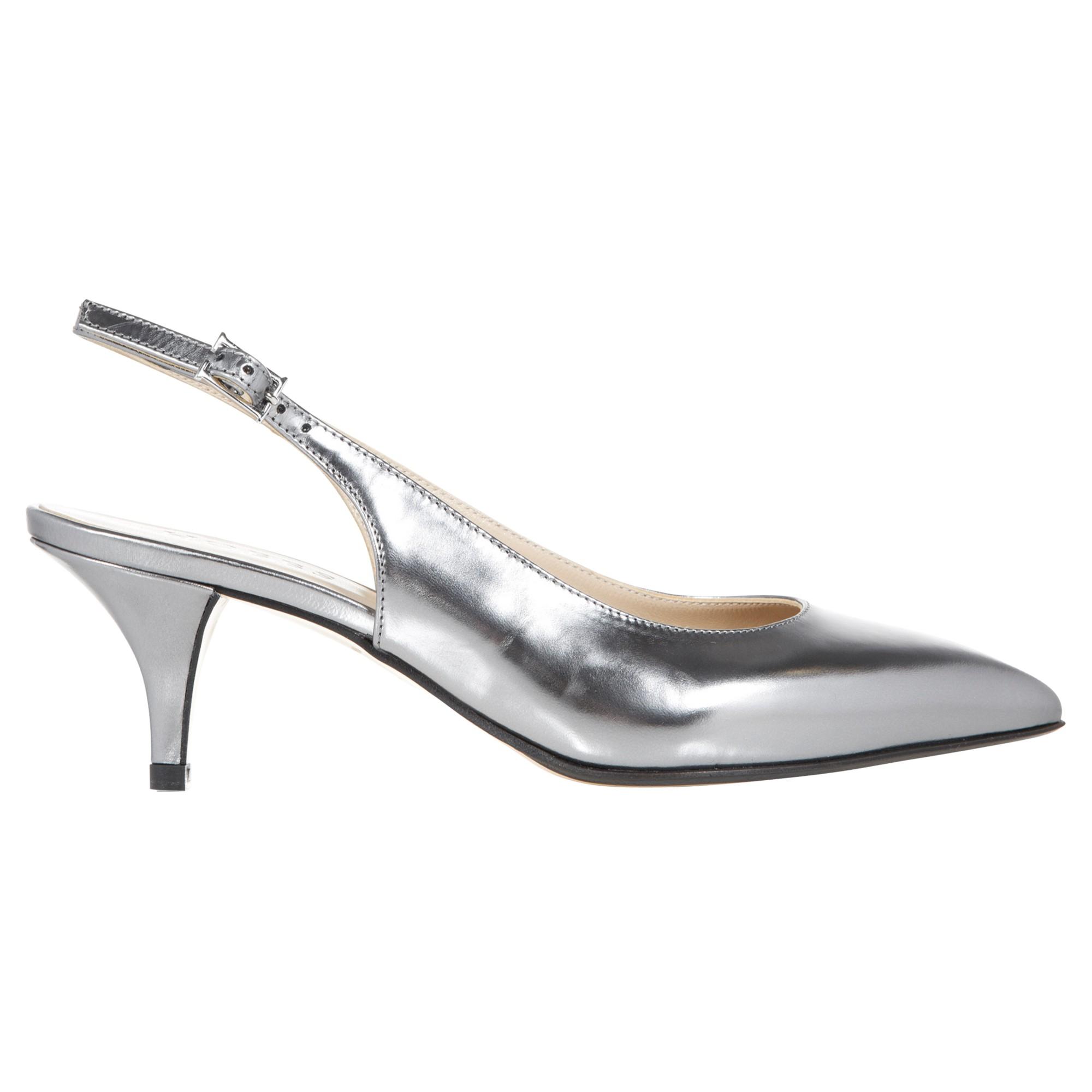 Silver Kitten Heel Dress Shoes