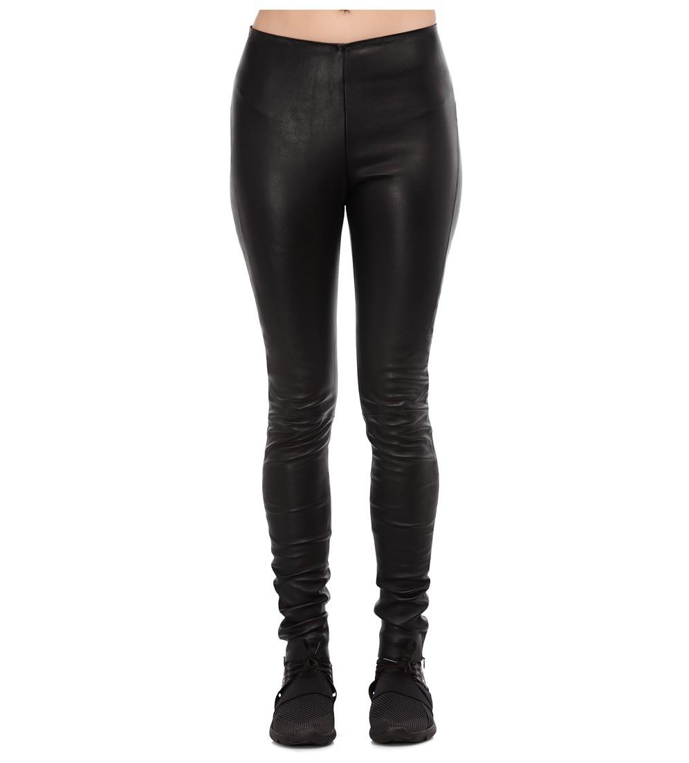 Y-3 Black Leather Leggings in Black