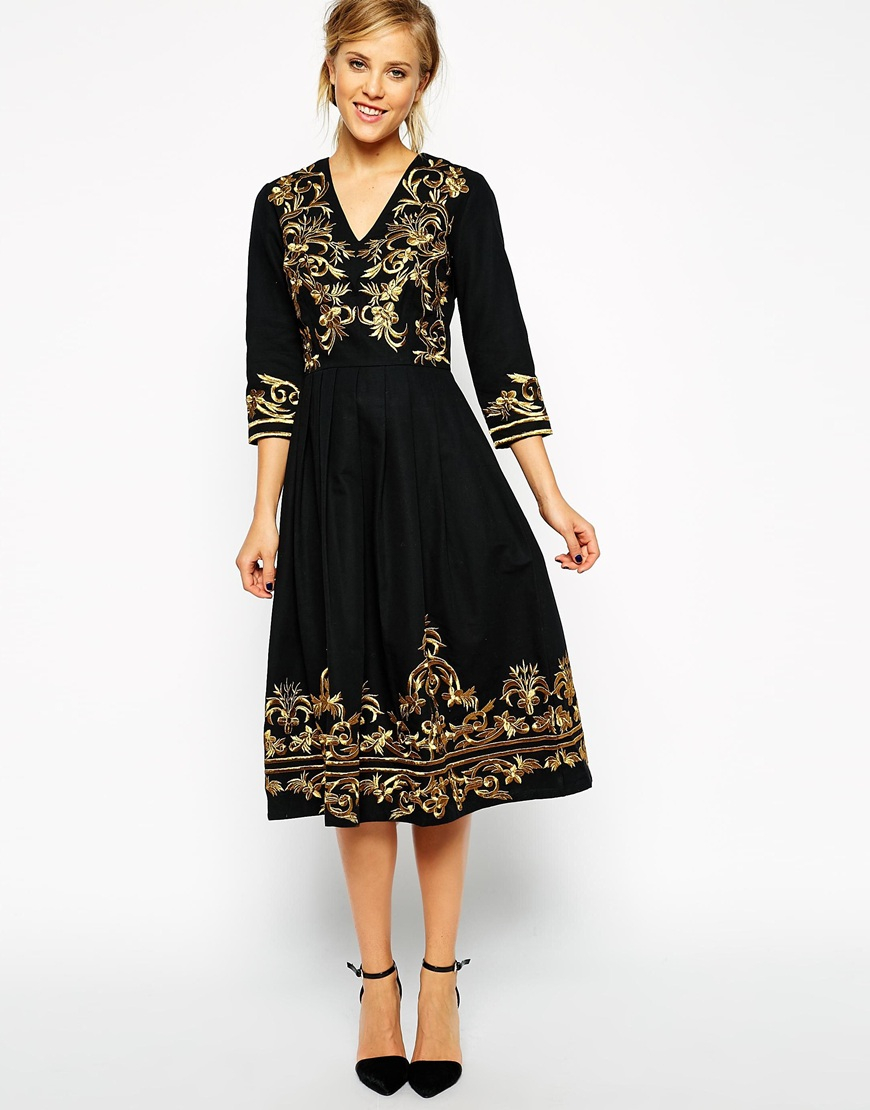 Lyst asos premium midi dress with metallic embroidery in