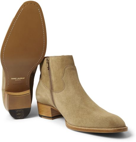saint laurent suede chelsea boots in beige for men neutrals lyst. Black Bedroom Furniture Sets. Home Design Ideas