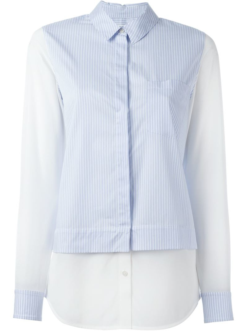 Lyst Vince Paneled Pinstripe Shirt In Blue