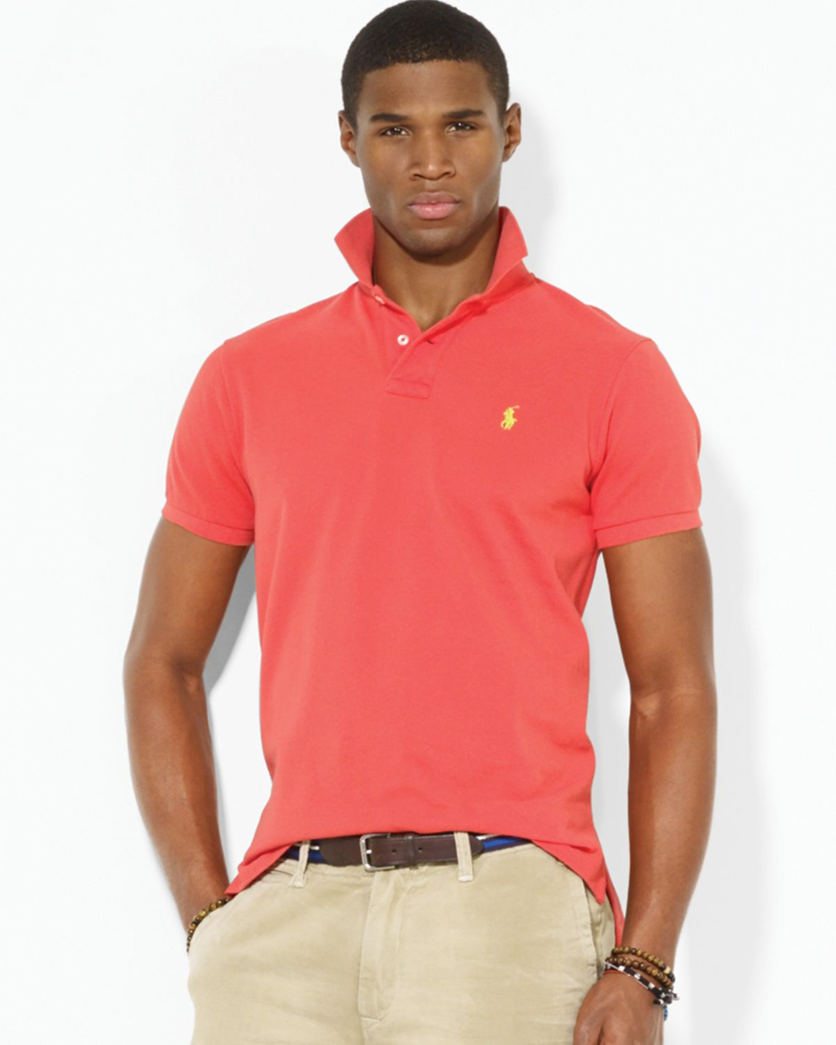 Ralph lauren polo custom mesh polo shirt slim fit in red for Ralph lauren custom fit mesh polo shirt