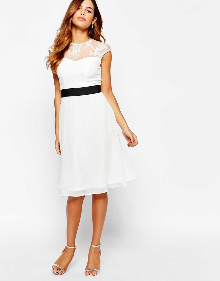 Lyst Elise Ryan Midi Prom Dress With Sweetheart Lace Top