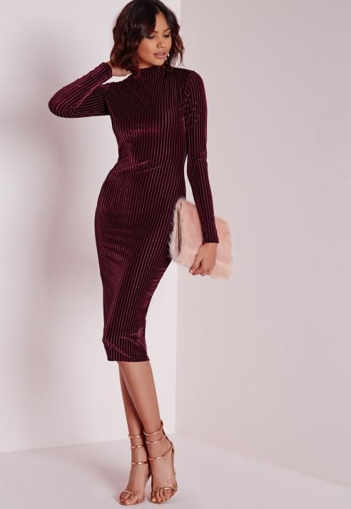 Missguided Velvet Ribbed Long Sleeve Midi Dress Burgundy