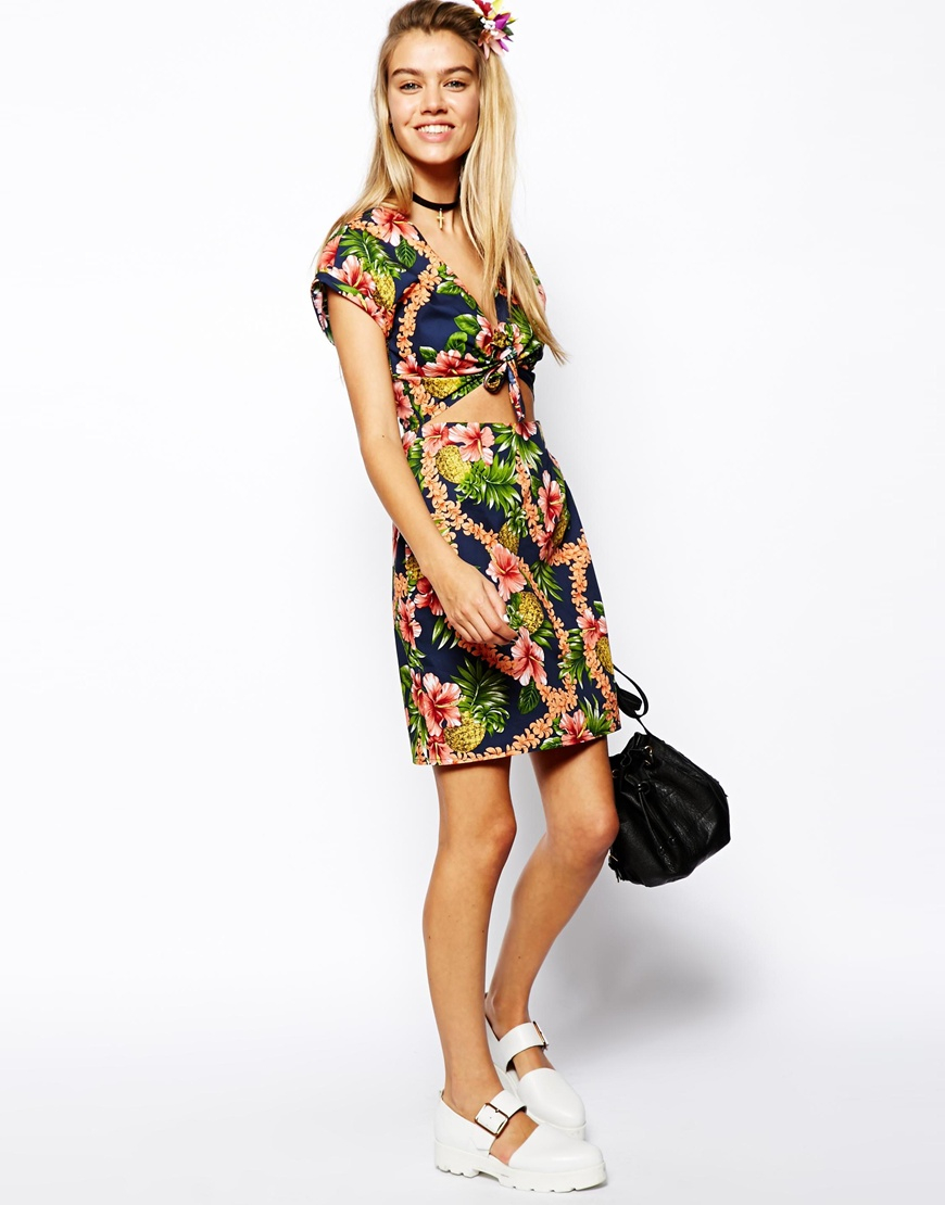 cb5838b09d ASOS Reclaimed Vintage Dress with Tie Front in Tropical Print - Lyst