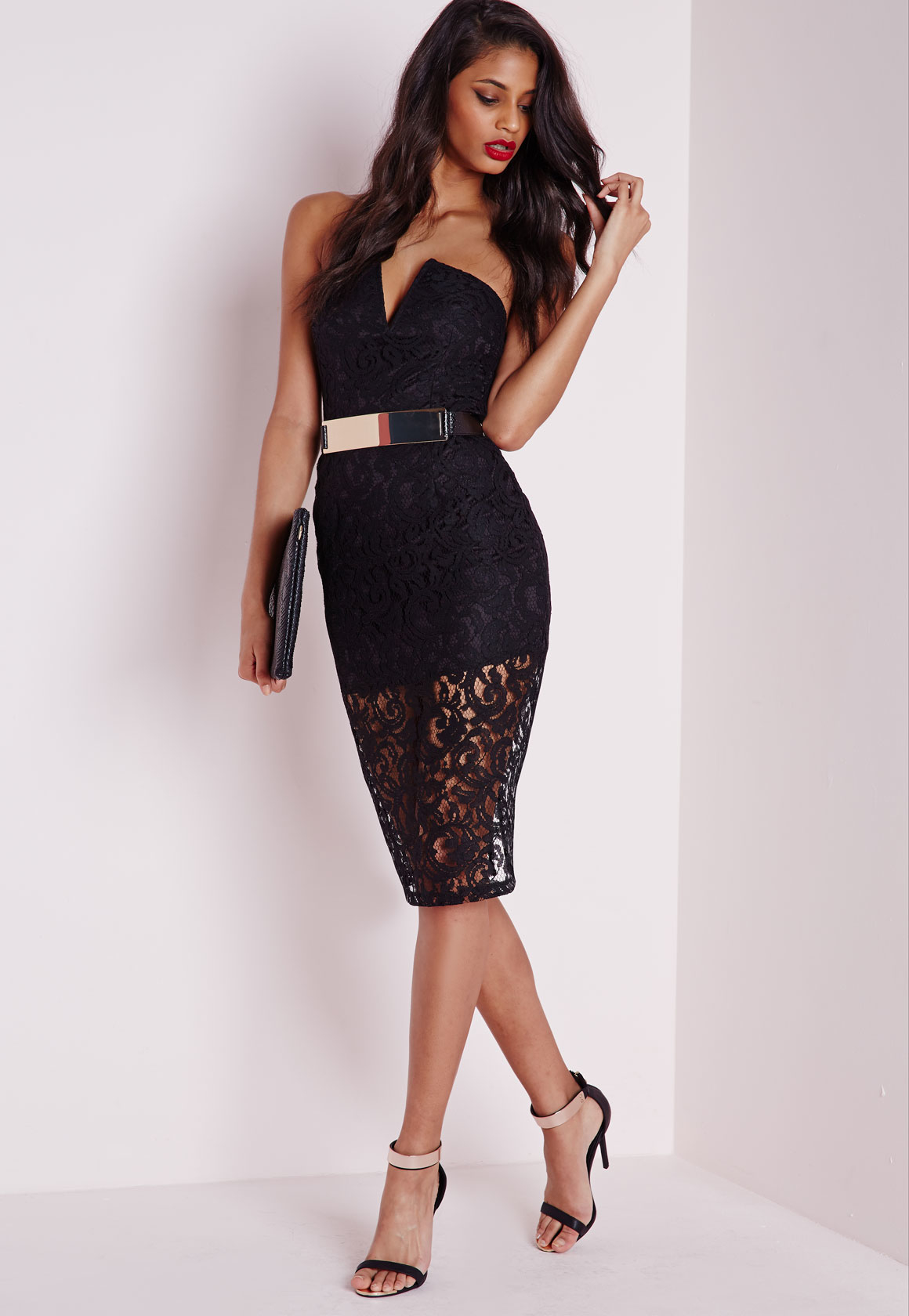 Lace bandeau dress black