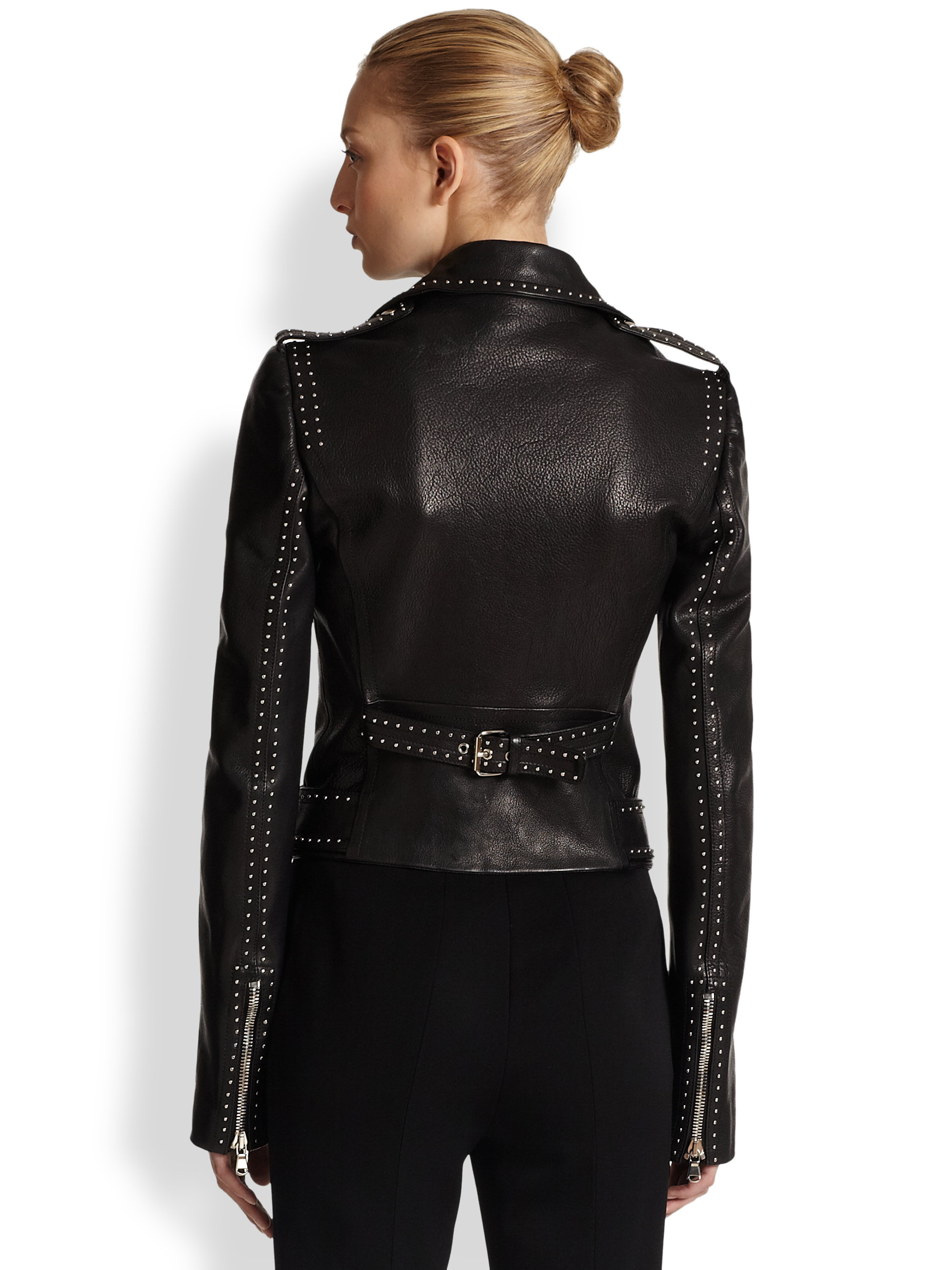 alexander mcqueen studded leather moto jacket in black