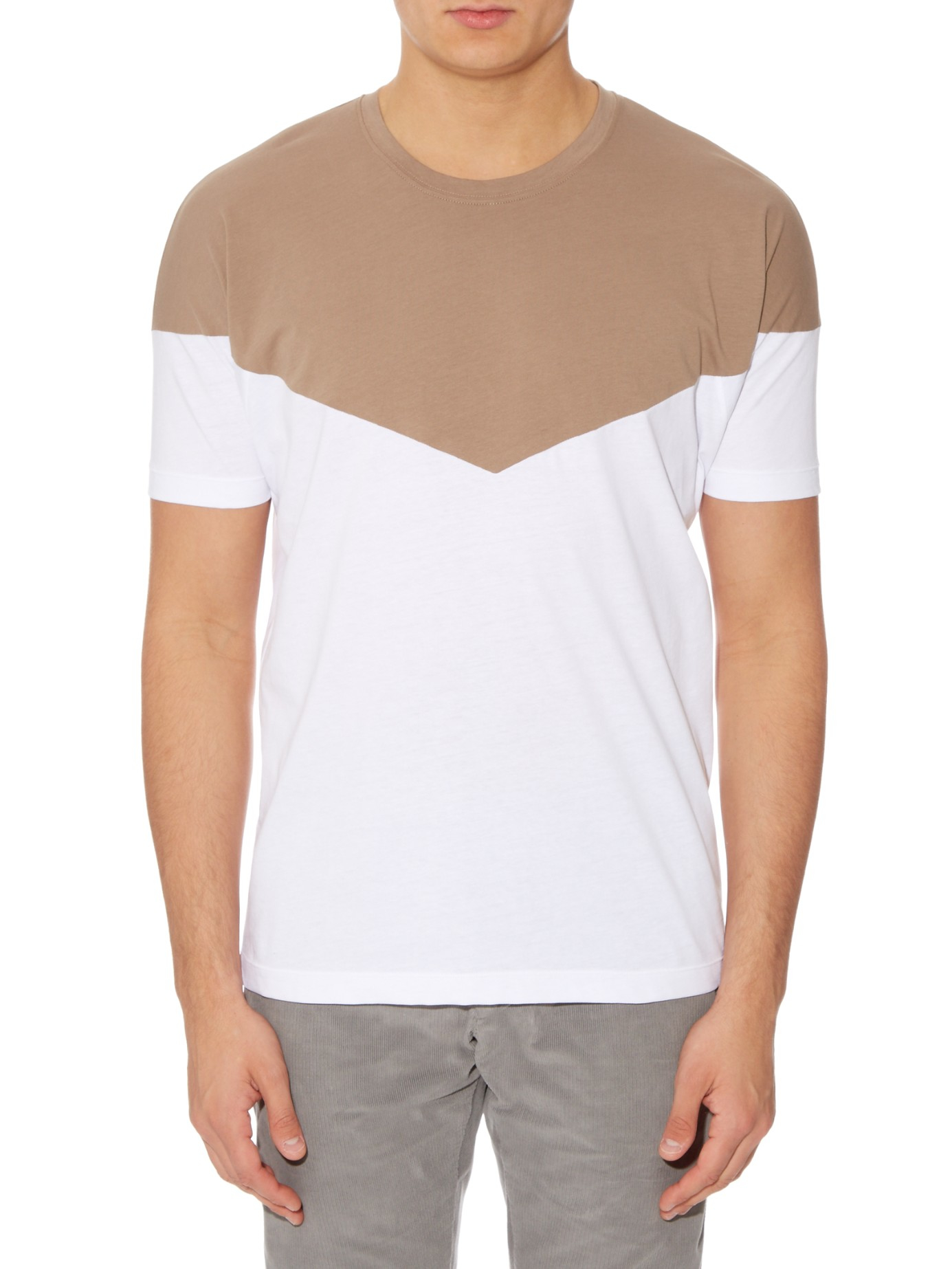 Bottega veneta contrast panel short sleeved t shirt in for Bottega veneta t shirt
