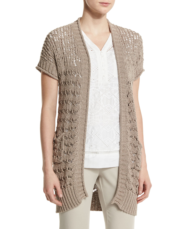 Neiman marcus Short-sleeve Sweater Vest in Brown | Lyst