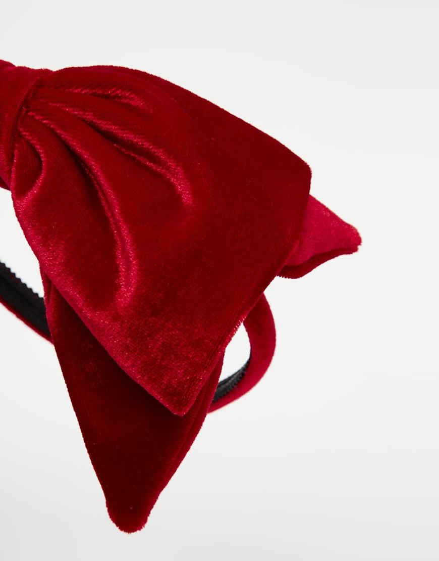 Lyst - ASOS Velvet Bow Headband in Red 670f83c0b13