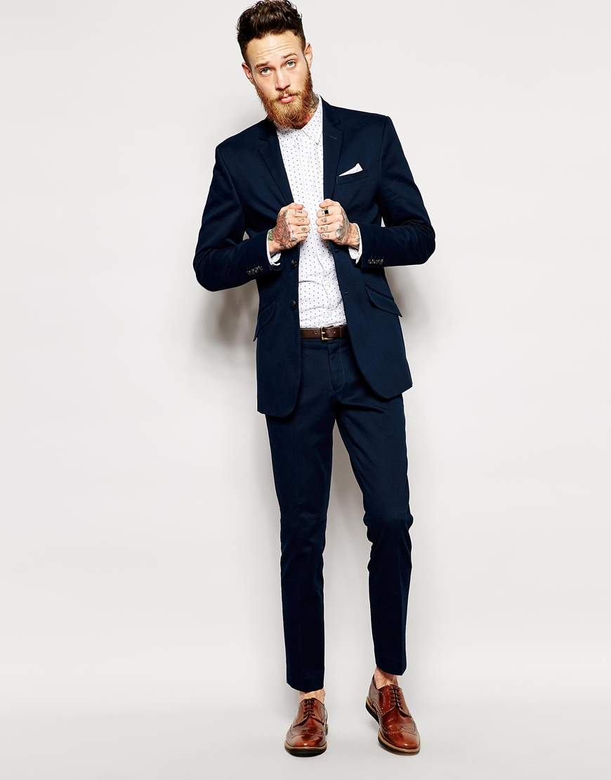 Selected Selected Heavy Cotton Twill Suit Jacket In Skinny Fit in ...